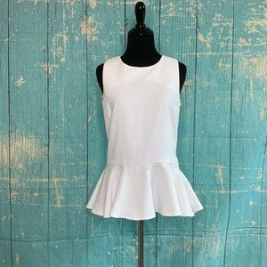 JULIE BROWN WHITE SLEEVELESS TOP W/BACK ZIP
